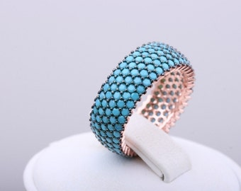 Elegant! Turkish Handmade Turquoise 925 Sterling Silver 5 Banded Ring Size 7