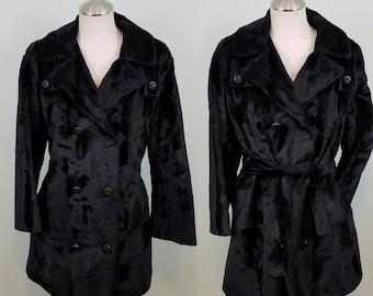 1960s Brushed Velvet Faux Fur Jacket / Mid Century Minimalist / Czarina Belted Pea Coat/ Modern Size Large to Extra Large XL