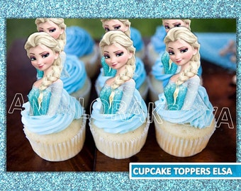 Elsa Cupcake Toppers/ Frozen Cupcake Toppers/ Printables/ Elsa Party/ Instant Download/ You Print 60% OFF