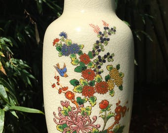 Vintage Chinoiserie Vase Made in Japan 11""