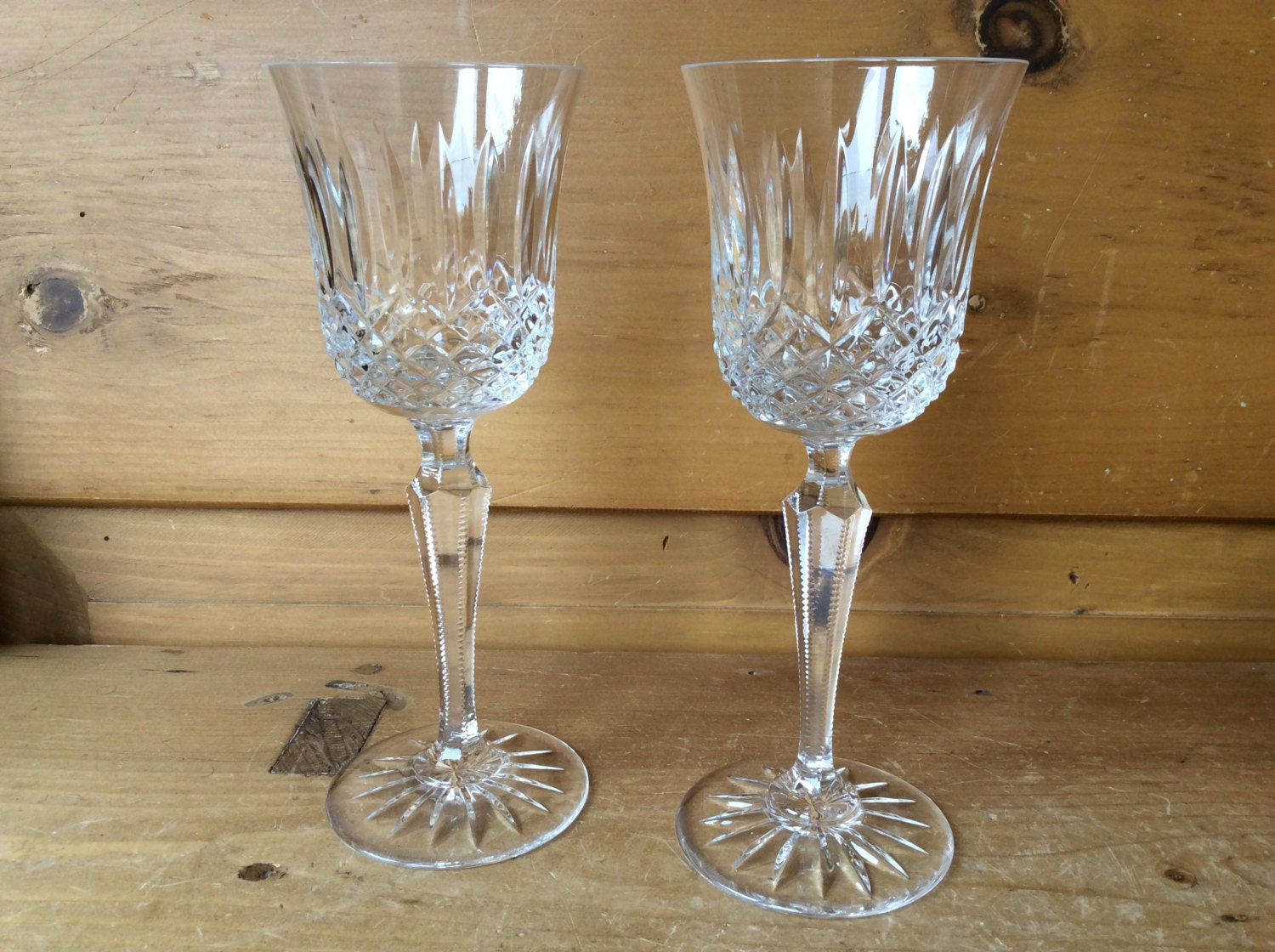 Vintage wedgwood wine glasses cut crystal set of 2 excellent - Wedgwood crystal wine glasses ...