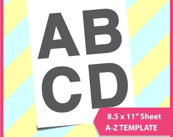 """Instant Download, A-Z Template, Alphabet template PSD, PNG and SVG Formats,  8.5x11"""" sheet,  Printable 103"""