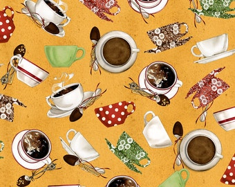 Daily Grind - Per Yd  - Quilting Treasures - Janet Wecker Frisch - Coffee Cups