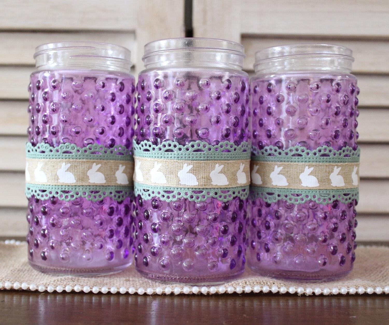 Easter Centerpiece Mason Jar Vase Rustic Decoration Purple Rabbits Table Utensil Holder Spring Decor
