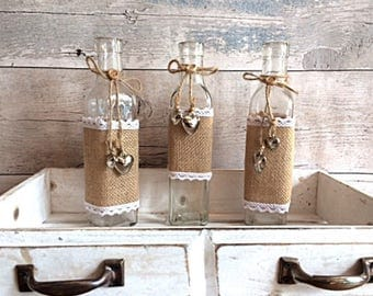 Decorated Burlap and Lace Glass bottle Vase, Weddings, Mothers day, centre pieces, Home decor