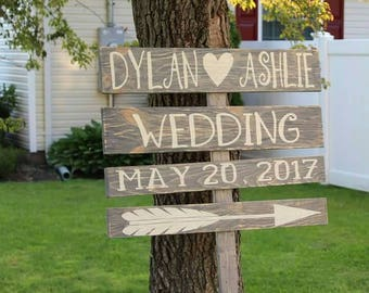 Wedding Event Sign custom distressed beach rustic custom bride groom wood paint ground direction guests