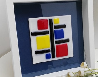 Picture of glass Mondrian. Table Mondrian. Gifts for her. Ideas gift for the