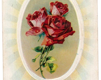 Antique 1910 Best Wishes 3 red roses victorian postcard