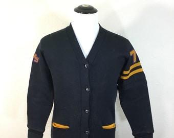 50's vintage varsity cardigan letterman sweater navy blue