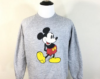 80's mickey mouse heather gray sweatshirt 50/50 blend made in usa