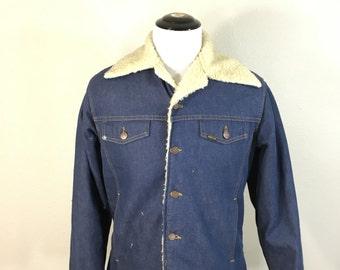70's roebucks sherpa lined deni jean jacket button up mens size 42