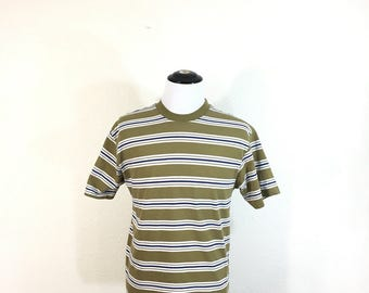 90's striped 100% cotton t-shirt made in usa mens size M