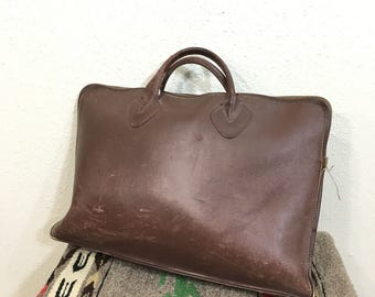 80's vintage L.L.bean leather briefcase tote bag made in usa