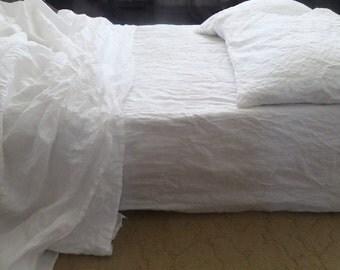 SHEETS SET:linen fitted sheet+flat sheet+two pillowcases 100% natural linen washed linen queen linen bedding white sheets,beige sheets gift