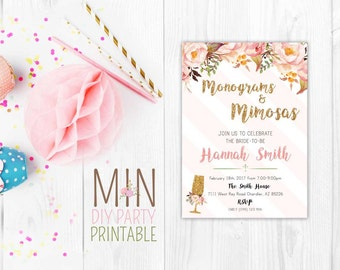 Monograms n Mimosas invite,Monograms & Mimosas,Monograms and Mimosas Invite, Monograms And Margaritas , Monograms Margaritas