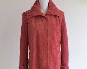 Vintage Suede Jacket     Women's Suede Coat     Vintage Coral Pink Suede Jacket