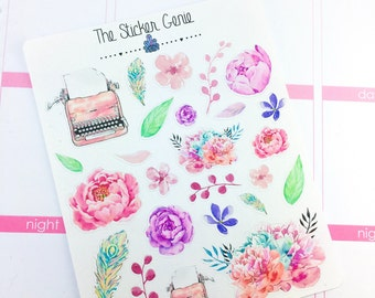 Love Story Deco | Planner Stickers, Weekly Kit, Spring Weekly Kit, typewritter sticker, floral stickers, romantic stickers