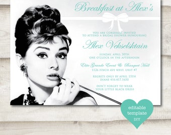 Breakfast at Tiffany's Bridal Shower Invitation, Bridal Shower, Audrey Hepburn, Tiffany & Co, Bow, Bridal Shower Invite, Black and White