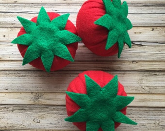 felt food tomato, play food vegetables, pretend vegetables, dramatic play food, felt food toy tomato