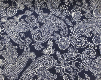 Navy Paisley 100% Viscose Summer Printed Dress Fabric