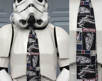 Star Wars Ships Novelty Necktie - Millennium Falcon X-Wing Rogue One SciFi Disney The Force Awakens TFA Tie