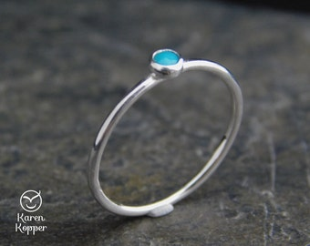 Turquoise Skinny sterling silver ring, smooth finish, 1.2 mm ring. Skinny ring, thin ring, stacking ring. December birthstone