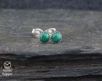 Natural green malachite gemstone earrings, 5mm cabochon, in a sterling silver bezel, stud earrings, posts earrings. KK190
