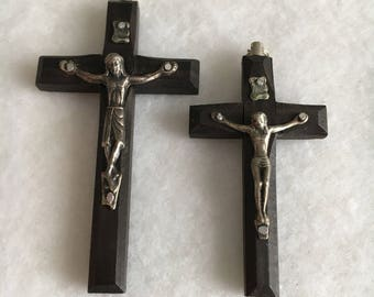 Vintage Italian wood crucifix, black ebony wood crucifix, stamped Italy, ideal rosary crucifix, available in two sizes