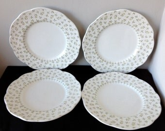 Set of 4 J&G Meakin Forget-Me-Not Green Dinner Plates
