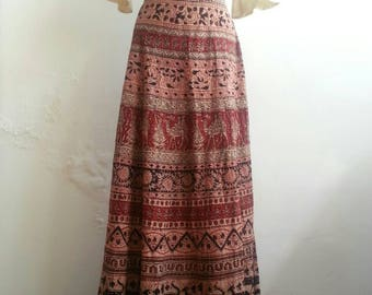 Vintage 70s Indian Cotton block printed Wrap Skirt handmade in England . Hippie Style