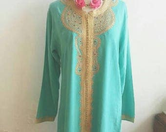 Bohemian Goddess Moroccon Tunic / Vintage Kaftan Dress Turquoise Kaftan Hippie Style Boho Style Cotton and Golden Details