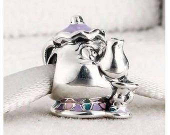 2017 Disney MRS POTTS & CHIP Charm / New / Threaded / Sterling Silver s925 / Fully Stamped