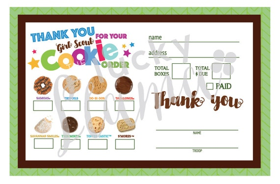 Epic image within girl scout cookie thank you note printable