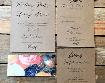 Rustic Wedding Invitation Stationery Template, Printable Wedding Stationery, Downloadable Wedding Stationery