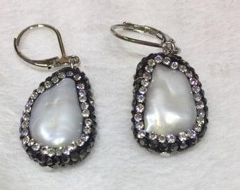 Crystal encrusted coin oearl earrings