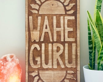 Wahe Guru Carved Wall Hanging