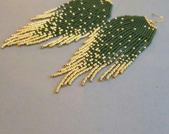 Handmade beaded dangle earrings, beaded earrings, fringe earrings, tassel earrings, green earrings