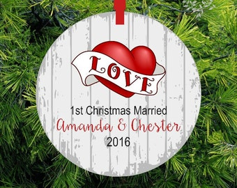 First Christmas as Mr & Mrs Ornament | Wedding Gift | Woodland Deer Ornament | Love Heart Holiday Ornament | 1st Christmas Gift ORLHB1