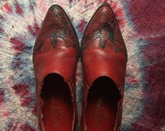 Western Red Leather slip ons 7 1/2 made in brazil