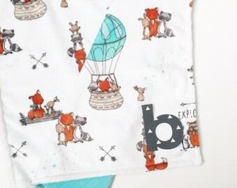 Minky baby blanket-Boy blanket-Woodland-Personalized baby blanket-Custom-Monogrammed-Soft-Lovely blanket-Security blanket-Modern-Baby gifts