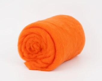 Orange B221-4, 1.77oz (50gr) 22mic Carded Merino Wool For Felting And Needle Felting.