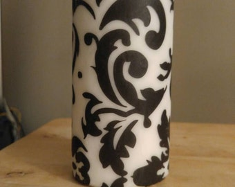 "Large 6""x3"" Black and White Damask Decor Candle"