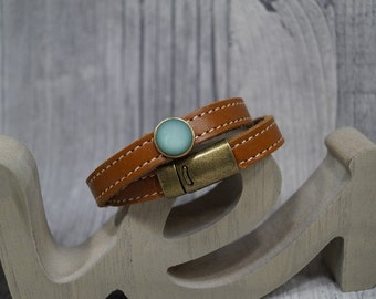 """Leather wristband """"Pol ARIS miracle"""" green"""