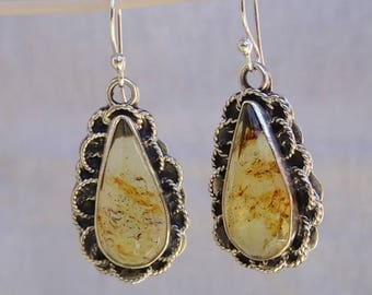 Genuine Chiapas Amber Teardrop Earrings set in sterling silver