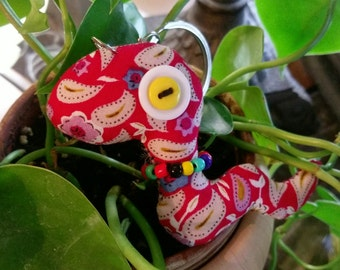 Cute Red Snake Fabric Plushie Keychain - Great stocking stuffer or gift for loved one