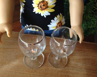 Set of 2 Miniature silver rimmed stemware for your American Girl doll. For a Fancy occasion!