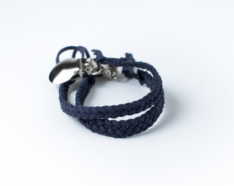 Braided Suede Leather Pacifier Clip | Navy Blue