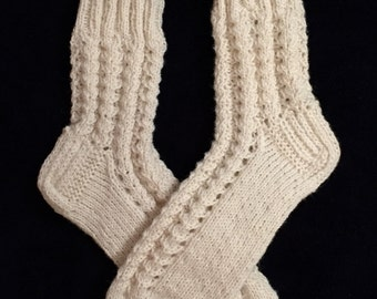 EUR Size 36 / US 4.5 / UK 3.5 / Handknitted Warm Wool Socks, White, Lace Knit