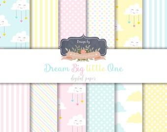 SALE Cloud Paper pack, Dream Big Digital Paper, Dream Big Little One, Blue sky paper, Clouds digital paper - Instant Download