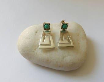 Silver Greek key earrings,Athena's earrings, Meander